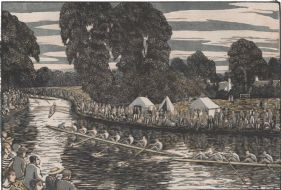 wood-engraving original colour print: Boat Race